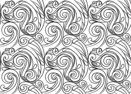coloring pages: sea seamless pattern, black and white wave . Adult Coloring pages. Illustration