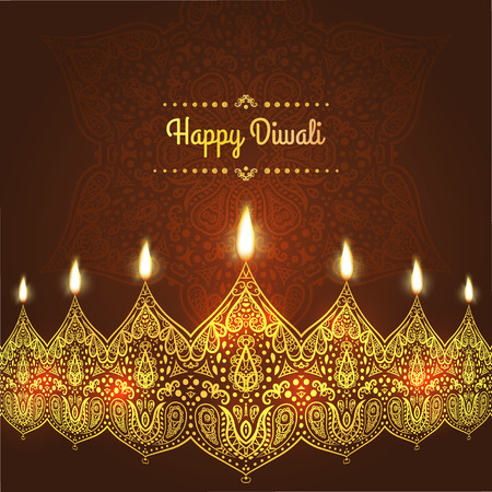 Happy Diwali. Greeting Card design for Diwali festival with beautiful ornamental lamps, flame of a candle . Illustration