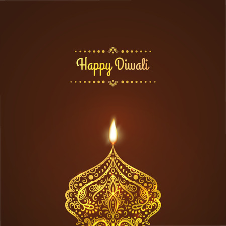 dipawali: Greeting Card design for Diwali festival with beautiful ornamental lamps, flame of a candle. Happy Diwali