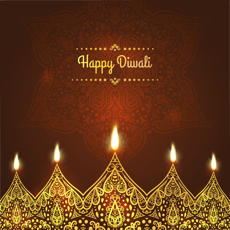 Happy diwali greeting card design for diwali festival with happy diwali greeting card design for diwali festival with beautiful ornamental lamps flame of m4hsunfo