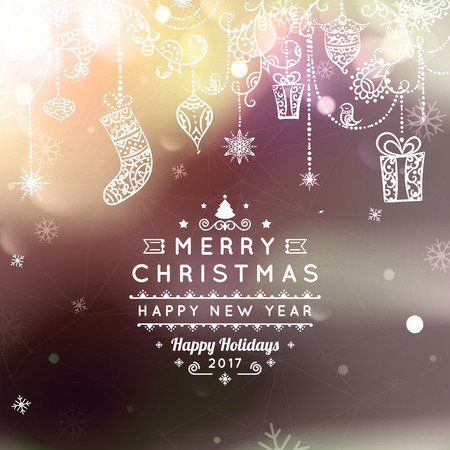 bokeh message: Merry Christmas and Happy New Year card. Christmas typographic message.  bokeh background, festive defocused lights, snowflakes, bauble, hanging decoration, text. Northern lights.