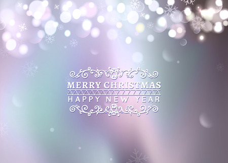 bokeh message: Christmas greeting card light on bokeh background, Northern lights. Merry Christmas holidays wish design and vintage ornament decoration. Happy new year message.
