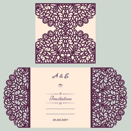 lazer: Wedding cutout invitation template. Suitable for lasercutting. Lazercut vector wedding invitation template. Lazer cut vector. Lace folds. Gate fold wedding invitation mockup. Illustration