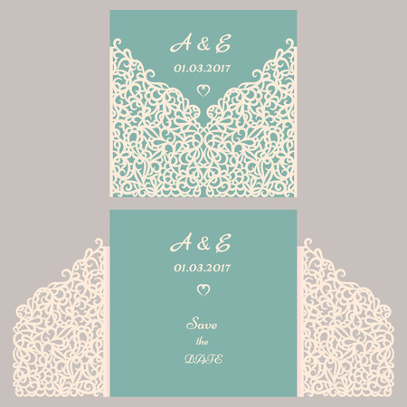 vignette: Wedding invitation or greeting card with abstract ornament. Vector envelope template for laser cutting. Paper cut card with silhouette. Cutout silhouette panel. Cutting file. Illustration