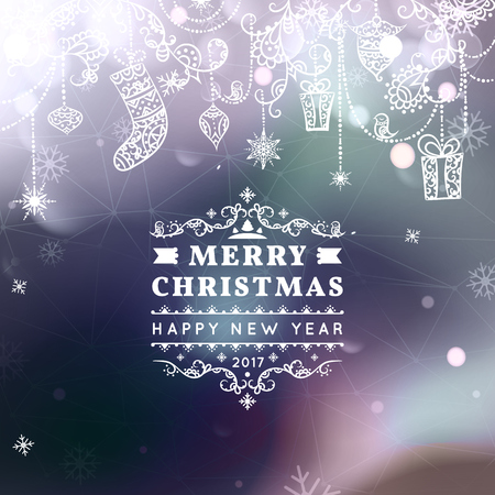 bokeh message: Merry Christmas and Happy New Year card. Christmas typographic message. Vector bokeh background, festive defocused lights, snowflakes, bauble, hanging decoration, text. Northern lights. Illustration