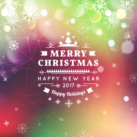 bokeh message: Merry Christmas and Happy New Year card. Christmas typographic message. Vector bright bokeh background, festive defocused lights, snowflakes, text.