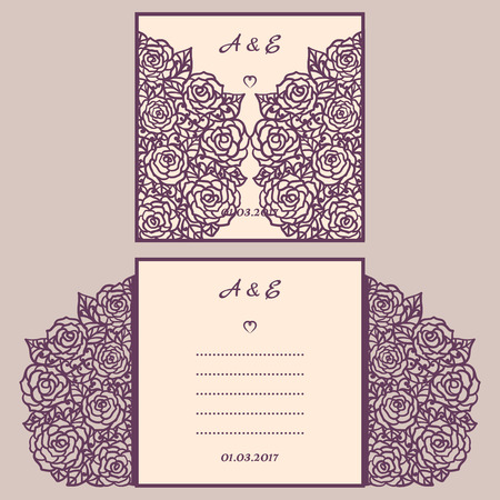 Wedding invitation or greeting card with abstract ornament.  envelope template for laser cutting. Paper cut card with silhouette. Cutout silhouette panel. Cutting file.