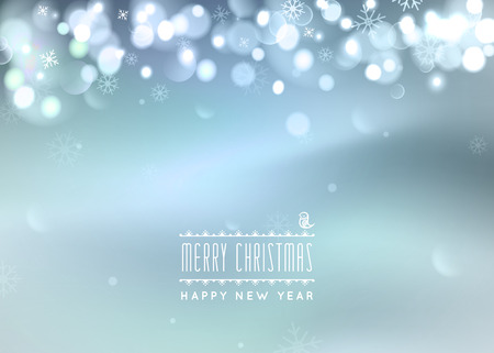 bokeh message: Christmas greeting card light on bokeh , Northern lights. Merry Christmas holidays wish design and modern ornament decoration. Happy new year message.