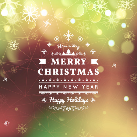 bokeh message: Merry Christmas and Happy New Year card. Christmas typographic message.  bokeh  festive defocused lights, snowflakes, text. Illustration