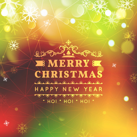 bokeh message: Merry Christmas and Happy New Year card. Christmas typographic message.  bright bokeh  festive defocused lights, snowflakes, text.