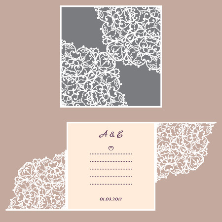 lazer: Wedding invitation or greeting card with abstract ornament. Vector envelope template for laser cutting. Paper cut card with silhouette. Cutout silhouette panel. Cutting file. Illustration