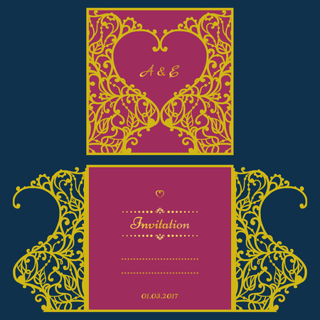 Wedding invitation or greeting card with abstract ornament. Vector envelope template for laser cutting. Paper cut card with silhouette. Cutout silhouette panel. Cutting file. Vettoriali