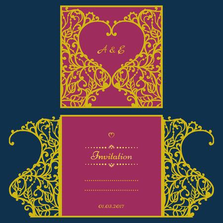 invitación de la boda o tarjeta de felicitación con el ornamento abstracto. Vector plantilla de sobre para el corte por láser. Corte del papel de tarjetas con la silueta. panel de la silueta del recorte. archivo de corte.