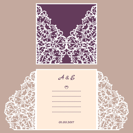 Wedding invitation or greeting card with abstract ornament. Vector envelope template for laser cutting. Paper cut card with silhouette. Cutout silhouette panel. Cutting file. Illusztráció