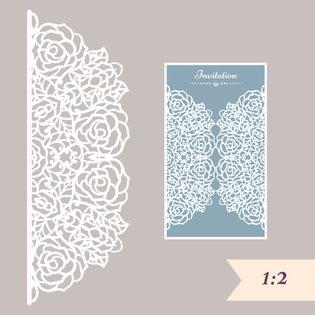 square cut: Wedding invitation or greeting card with abstract ornament. Vector envelope template for laser cutting. Paper cut card with silhouette. Cutout silhouette panel. Cutting file. Illustration