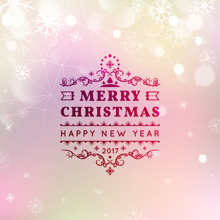 bokeh message: Merry Christmas and Happy New Year card. Christmas typographic message. Vector bokeh background, festive defocused lights, snowflakes, text.
