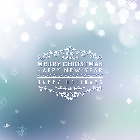 bokeh message: Merry Christmas and Happy New Year card. Christmas typographic message. Vector blue bokeh background, festive defocused lights, snowflakes, text.