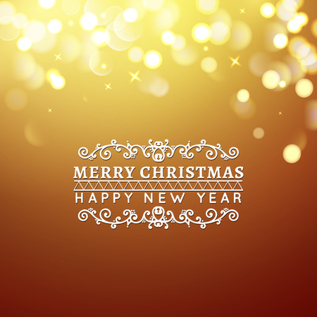 Golden Merry Christmas and Happy New Year card. Christmas typographic message. Vector bokeh background, festive defocused lights.