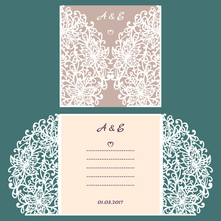 lazer: Abstract wedding cutout invitation template. Suitable for lasercutting. Lazercut vector wedding invitation template. Lazer cut vector. Lace folds. Gate fold wedding invitation mockup. Illustration