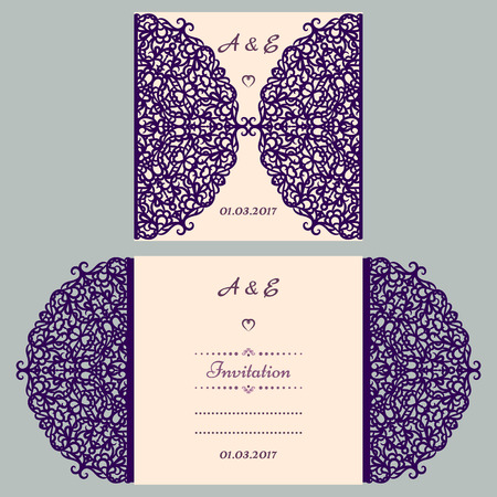 Die cut wedding invitation card template. Paper cut out card with lace. Beautiful laser cut invitation card for wedding. Paper cutouts. Wedding invitation template. Illustration
