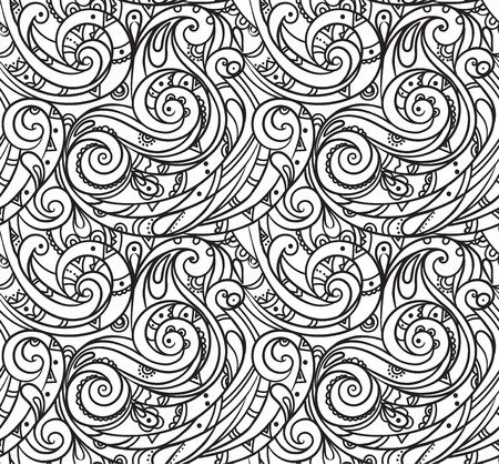 sea pattern, black and white wave . Adult Coloring pages.