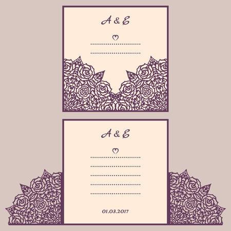 lasercutting: Wedding cutout invitation template. Suitable for lasercutting. Laser cut wedding invitation template. Lace folds. Gate fold wedding invitation mockup