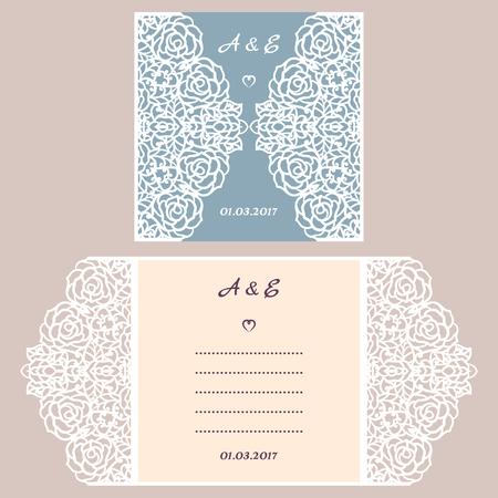 lasercutting: Abstract wedding cutout invitation template. Suitable for lasercutting. Lazercut wedding invitation template. Lace folds. Gate fold wedding invitation mockup