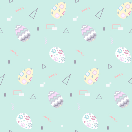 Seamless pattern with Easter eggs in pastel color. Memphis 80s-90s styles. Colorful geometric background, different shapes. Vector illustration.