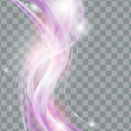Abstract smooth Wave on Transparent Background. Vector Illustration.