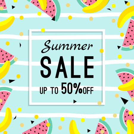 discount banner: summer sale design template. pattern with fruits, banana, watermelon and geometric elements in memphis style background, vector