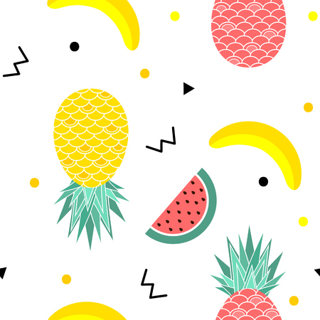 Colorful summer seamless pattern with fruits, banana, watermelon and geometric elements in memphis style background, vector. Ilustração