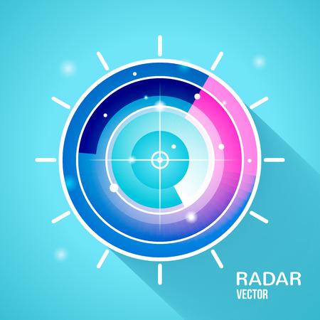 Flat style with long shadows, radar vector icon illustration Illustration