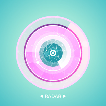 radar screen with targets in process ,dynamic illustration . Conceptual design of military radar screen. Vector illustration