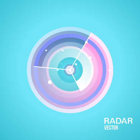 sonar: radar vector icon . Flat style illustration. for mobile applications, computer design.