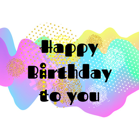 Happy birthday card. 3D Wavy Background. vector