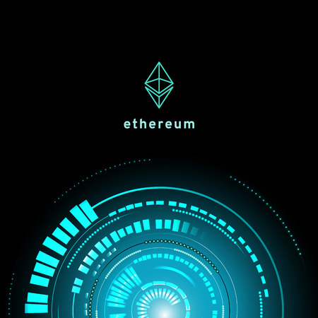ethereum symbol . circuit line on binary code and gears background. Vector illustration cryptocurrency mining concept Illustration