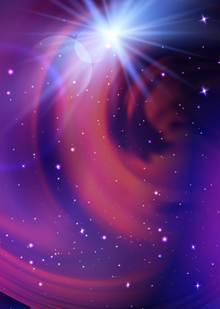 Space Galaxy Background with milky way nebula, stardust and bright shining stars. Vector illustration for your design, artworks Ilustração