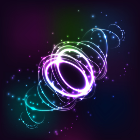 Neon blurry circles at motion. Abstract luminous swirl trail, slow shutter speed effect. Stock Illustratie