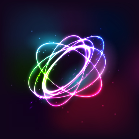 Glow effect, Ribbon glint, Abstract rotational border lines.