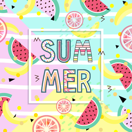 Summer Time Typographical Background With Tropical With Tropical fruits Ilustração