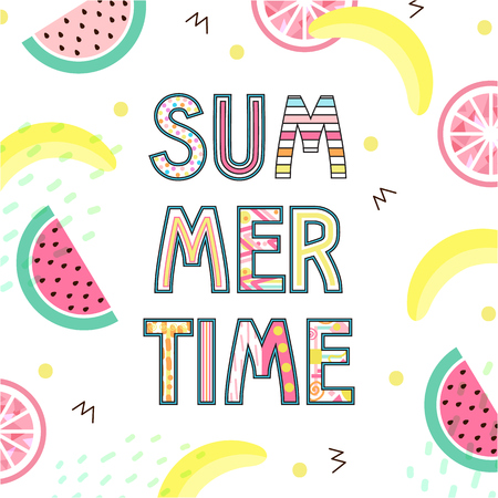 Summer Time Typographical Background With Tropical With Tropical fruits.