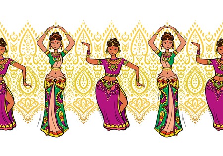 Woman dancer in national indian cloth dancing. Seamless pattern, vector Çizim