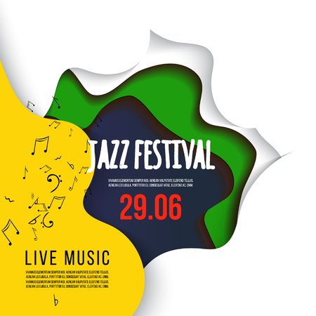 Jazz festival poster on 3D abstract background. paper cut shapes. Vector design layout for business presentations, flyers, posters and invitations. Colorful carving art.