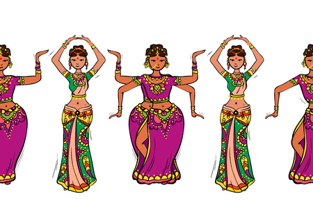 Woman dancer in national indian cloth dancing. Seamless pattern, vector illustration.