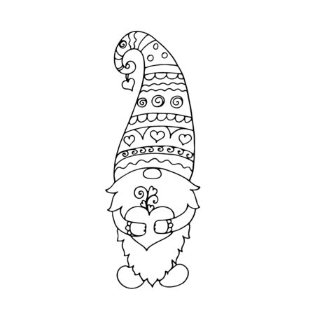 Valentine gnome with a heart. Vector hand drawn digital illustration for St. Valentines Day gift, card, print, coloring,My be used for laser cutting or die cutting machines.