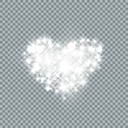 Heart Lights, stars And Blurs on a transparent background
