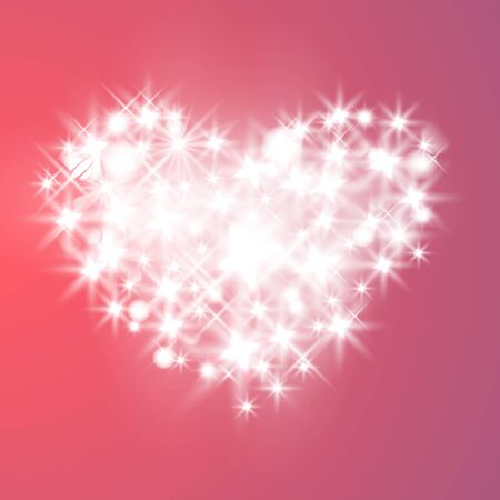 Valentines Day Card With Hearts, Lights, stars And Blurs.