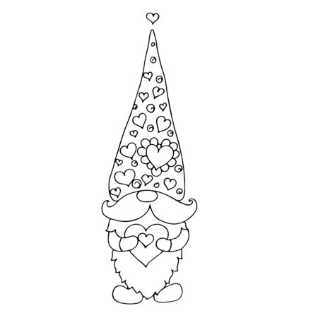 Valentine gnome with a heart. Vector hand drawn digital illustration for St. Valentines Day.