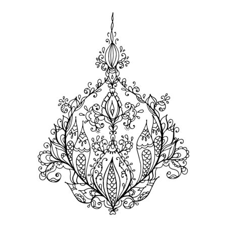 ornate pattern hand drawn design element. flower mandala, textiles art. Coloring page. Vector illustration