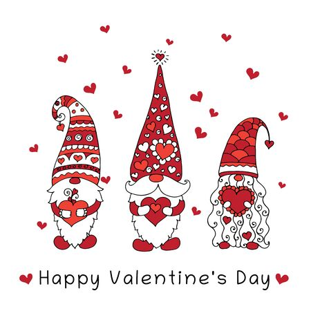 Three gnomes holding hearts in their hands. Valentines Day